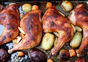 pulpe de pui cu legume la cuptor
